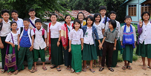 Myanmar school children meeting