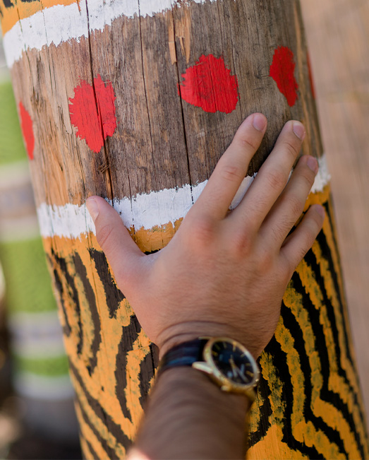 A hand on Indigenous art at ACU Canberra Campus