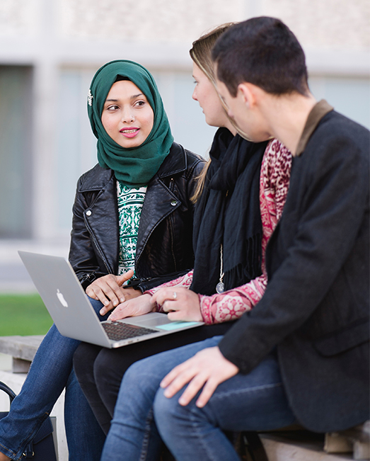 Students chatting on campus