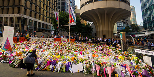 An impromptu memorial at Martin Place in Sydney, after the Lindt Cafe siege.